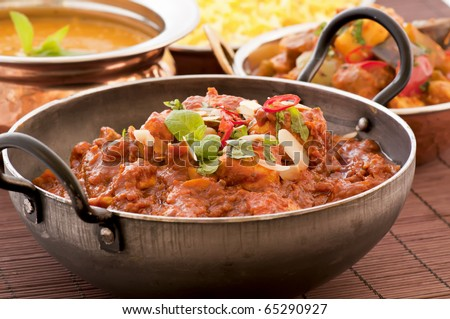 Chichen Madras in Stewpot with Rice and Soup - stock photo