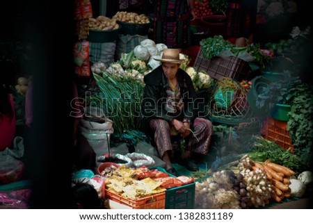 Chichicastenango, Guatemala – November 1st 2018: Image shows the famous markets of chichicastenango. The indoor vegetable market have stalls selling colourful fruit and veg.