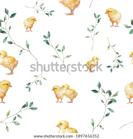 Chick and plants baby texture. Watercolor spring time seamless pattern. Wallpaper with chick, nest, eggs and tree leaves Stockfoto ©