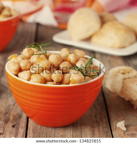 Chick pea with rosemary, square image and retro style