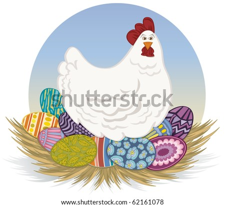 Chicken and Easter Eggs - Raster Version