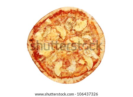 chicken and pineapple pizza (with clipping path)