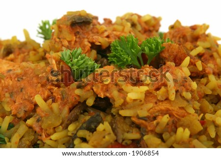 Chicken and prawn rice with pepper, isolated on white