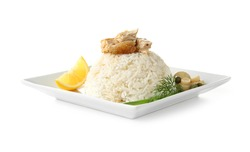 Chicken and rice on plate isolated on white