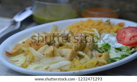 Chicken and Steak Fajitas Mexican Food #1232471293