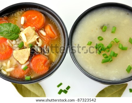 Chicken And Wild Rice Soup And Potato Cream Soup, Top View