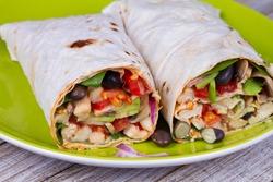 Chicken, Avocado, and Black Beans Burritos