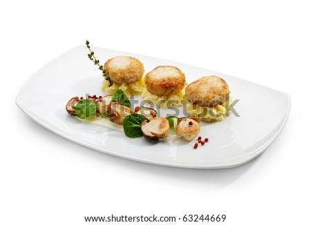 Chicken Breast Cutlet on Potato Mash with Mushrooms. Served with Fresh Basil Leaf and Thyme
