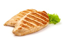 Chicken breast, grilled meat, isolated on white background.