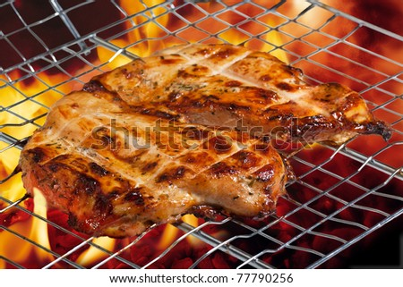 chicken breast grilled with flames