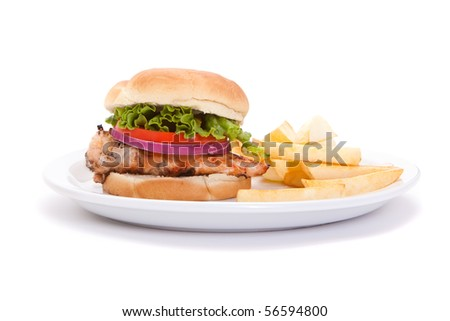 Chicken breast sandwich with french fries isolated on white background