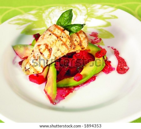 Chicken breast with red beet sauce and avocados