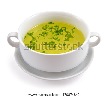 Chicken broth greens. Isolated on white background.