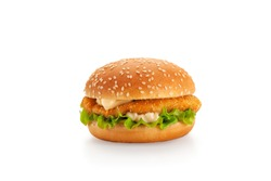 Chicken burger isolated on white background