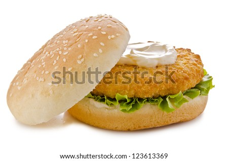Chicken burger, isolated on white background. Close up.