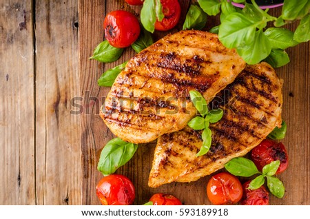 Chicken chilli steak with roasted vegetable, food photography