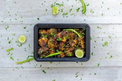 Chicken Chukka or Chicken Sukka  with lime, green chilly and coriander
