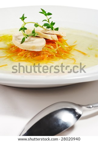 Chicken Consomme Soup with Julienne Vegetable and Herb