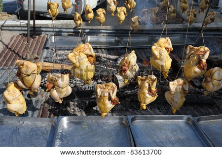chicken cooked over a wood fire