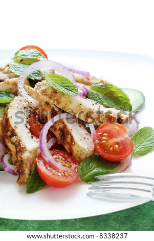 Chicken cucumber and mint salad.  Chicken breast marinated in spiced yoghurt and grilled, served with cherry tomatoes, cucumber, mint leaves and red onion.
