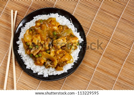 Chicken Curry a popular asian dish available at chinese take aways