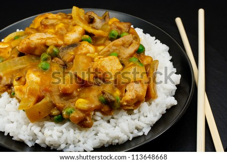 Chicken Curry a popular oriental dish available at chinese restaurants