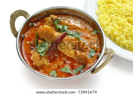 chicken curry , indian dish , on white background