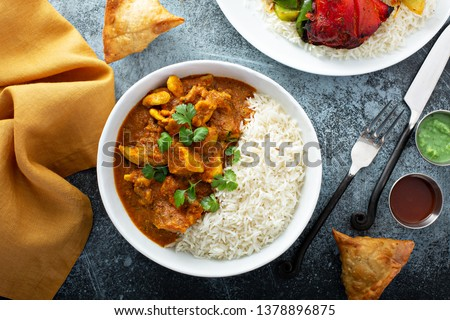 Chicken curry with jasmine rice, indian food concept ストックフォト ©