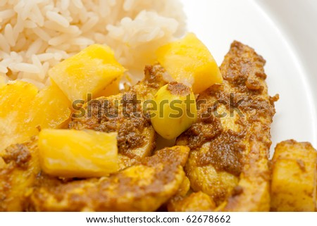 Chicken Curry with pineapple and rice.