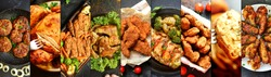 Chicken dishes. Nuggets,meatballs,chicken breast, wings. Different food. A variety of meat dishes. Food collage. Top view.