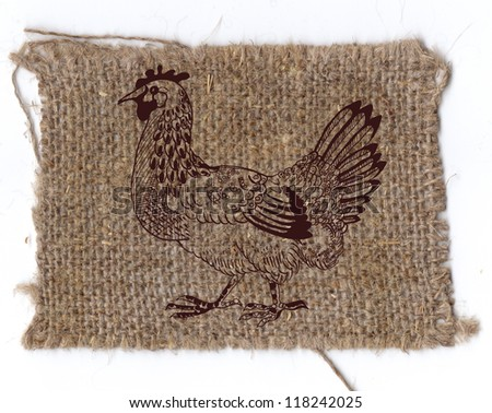 chicken drawing on linen background