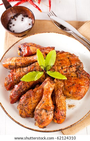 chicken drumsticks homemade plate smoked thighs