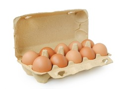 Chicken eggs in package isolated on white background