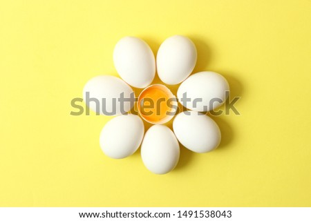 chicken eggs on a colored background. Farm products, natural eggs.  #1491538043
