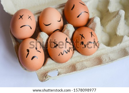 Chicken eggs with various emotions and facial expressions. Emotional stability concept represented  #1578098977