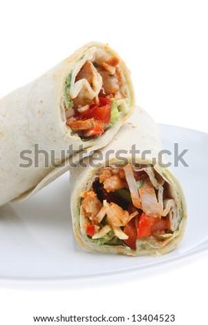 Chicken fajita in a tortilla wrap