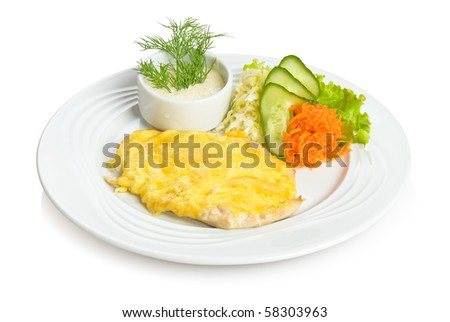 Chicken fillet in cheese with sauce and vegetable side dish. Isolated on white.