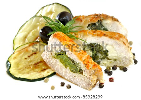 Chicken fillet stuffed with spinach and gorgonzola isolated
