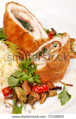 chicken fillet with vegetables and potatoes