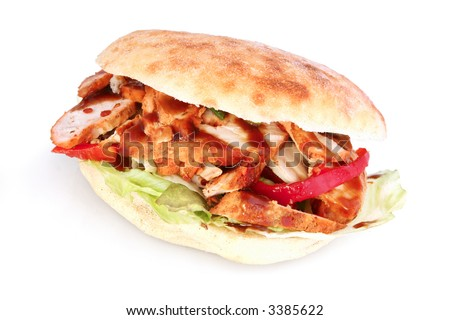 Chicken focaccia or panini, with salad and tandoori sauce.  It was delicious!