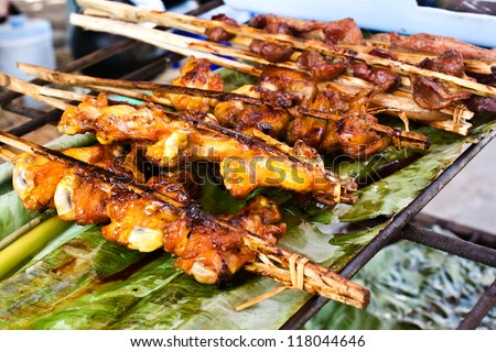 Chicken grilled on charcoal
