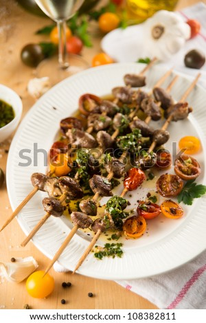 Chicken Heart Skewers with Grilled Tomatoes