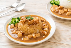 Chicken in brown sauce or gravy sauce with rice - Asian food style