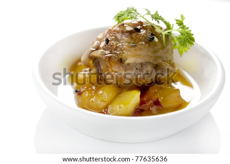 chicken in sweet sauce with fruit