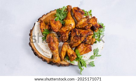 Chicken kebab in wooden plate with lavash isolated Stok fotoğraf ©