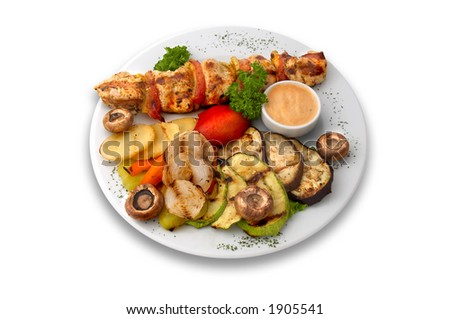 chicken kebab with grilled mushrooms and vegetables