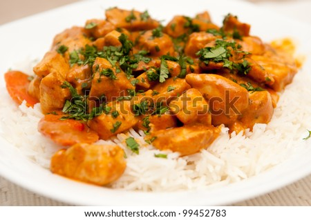 chicken korma, a spicy Indian themed meal of diced chicken, rice and creamy korma sauce topped with chopped cilantro