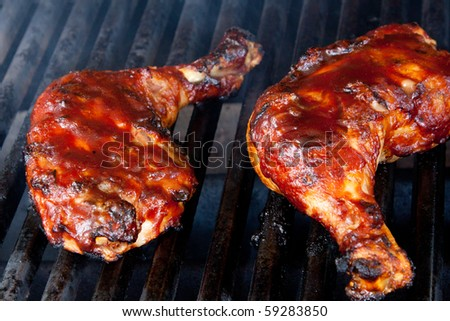 Chicken Leg Quarters on Barbecue Grill
