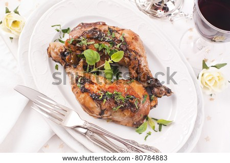 Chicken legs roasted with fresh herbs
