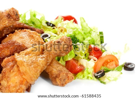 Chicken legs with fresh vegetables